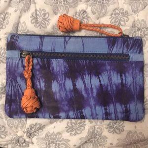 Shibori leather clutch